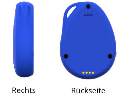 Ansicht blaues PADRINO Gerät von hinten und rechts - technische Eigenschaften